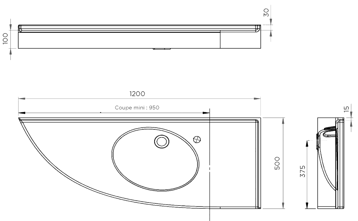 Plan vasque Floride MR d'angle