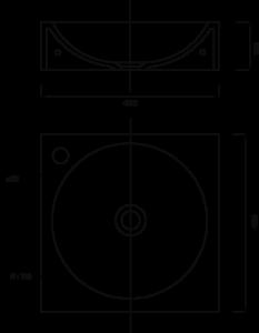 Plan lave-main carré 400