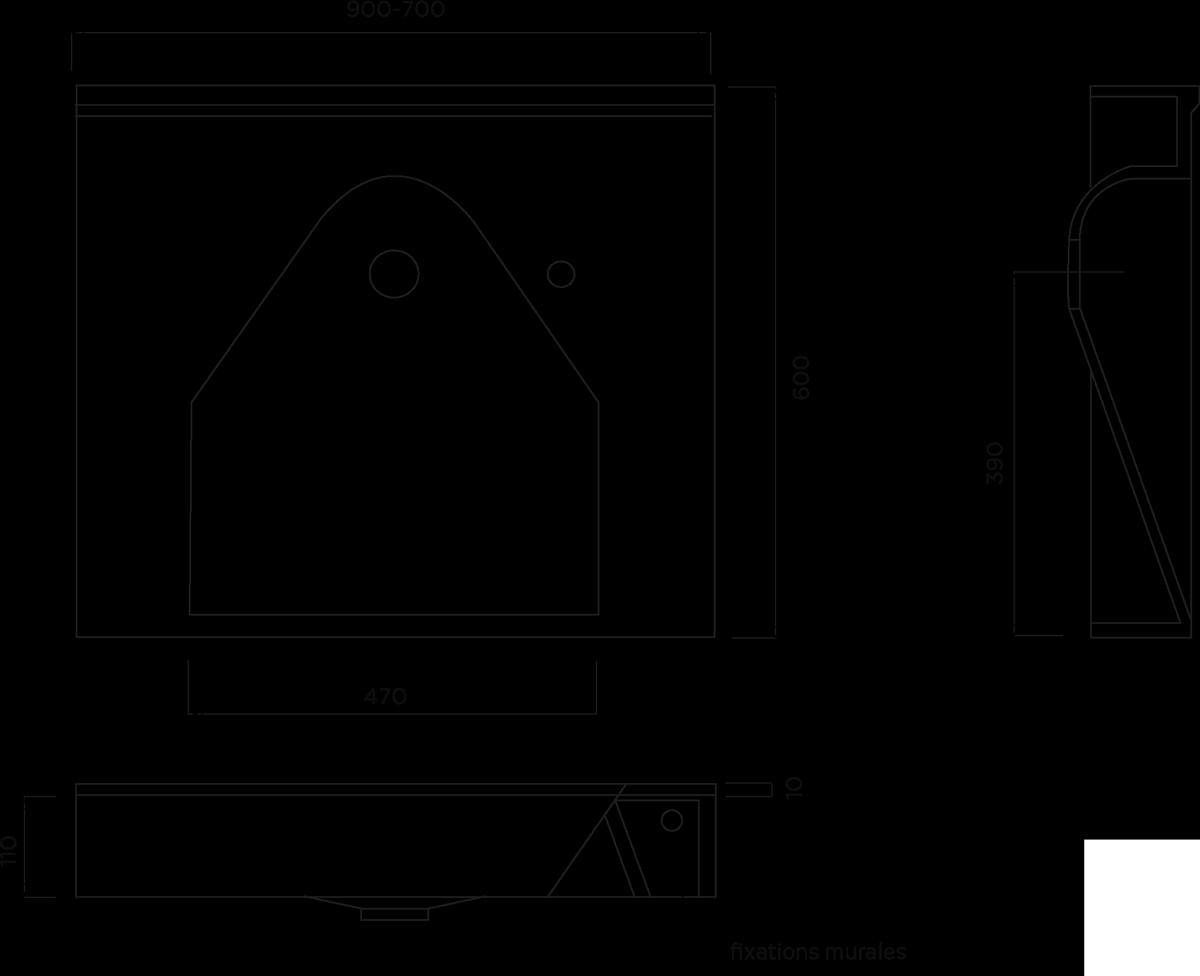 Plan vasque Triolo d'angle MR 700-900